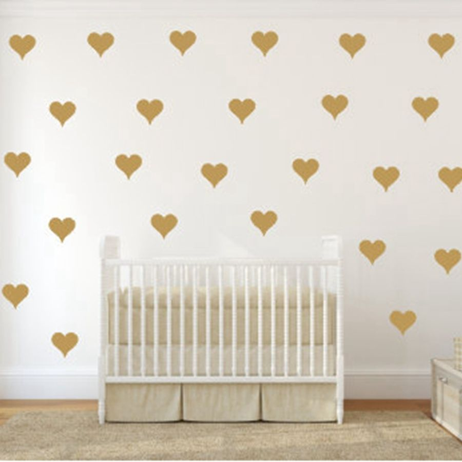 Free Shipping Metallic Gold Wall Stickers Heart Shaped