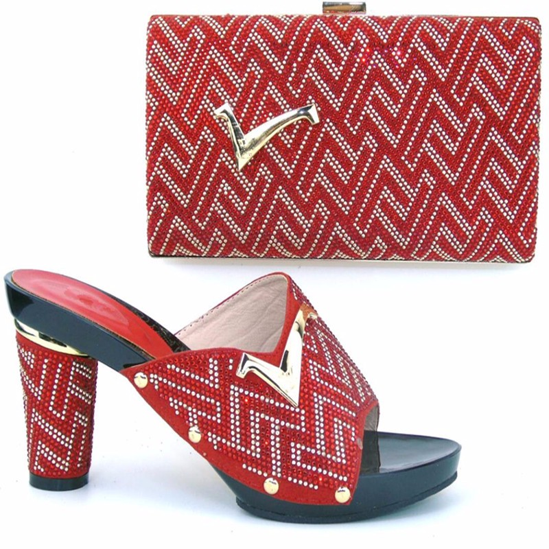 TH16-52 Free Shipping DHL Italian Design Woman Matching Shoe And Bag Set High Quality Slipper For Wholesale heel