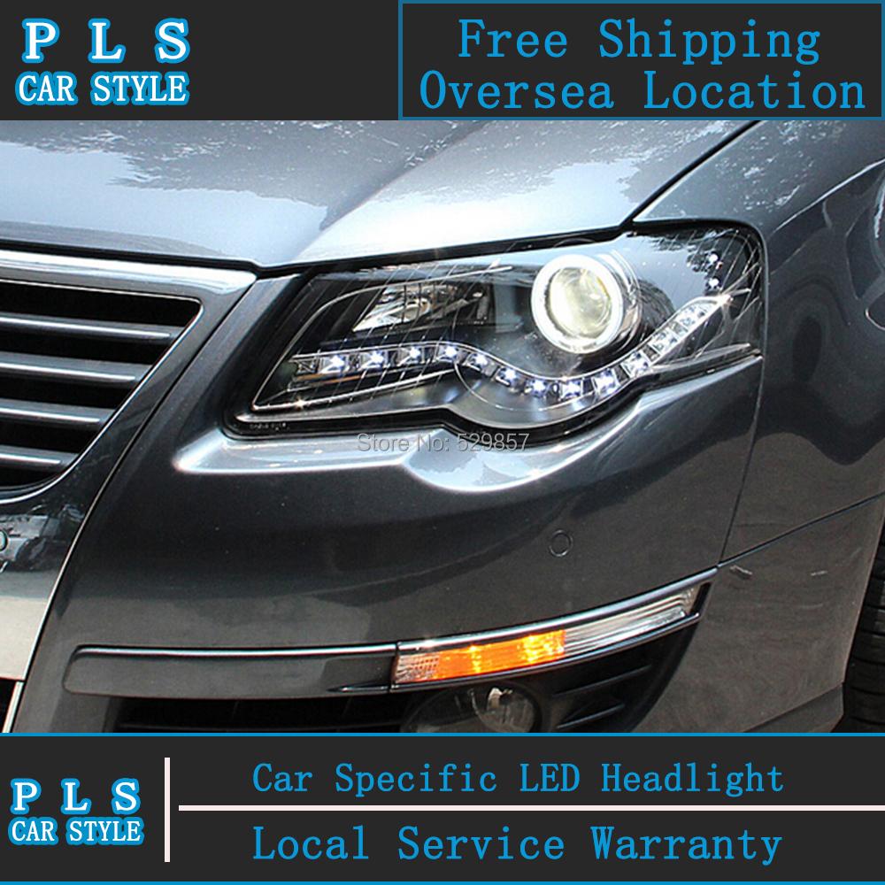 Car Styling Headlight for VW PASSAT B6 LED Headlights 2007-2011 MAGOTAN Head lamp LED drl angel eye h7 Q5 bi xenon lens beam(China (Mainland))