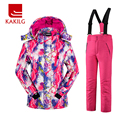 Girls Waterproof Ski Suit Children Ski Jacket and Pants Warmth Thickened Winter Clothes 30 Degree
