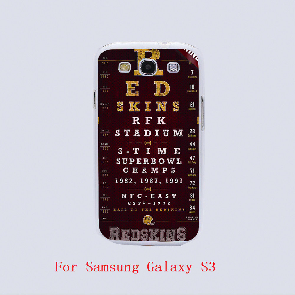 Washington Redskins Football Eye Chart Design hard plastic phone cover cases For Samsung Galaxy S3 9300 /S4 /S5 /S6 /S6 Edge(China (Mainland))