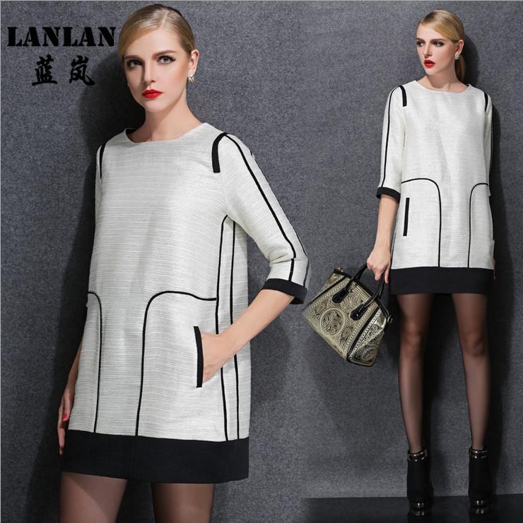 LANLAN Jacquard Casual Dress 5XL 4XL 3XL XXL XL Spring 2015 New Loose White Dinner Evening Party Dresses Plus Size Women Dress(China (Mainland))