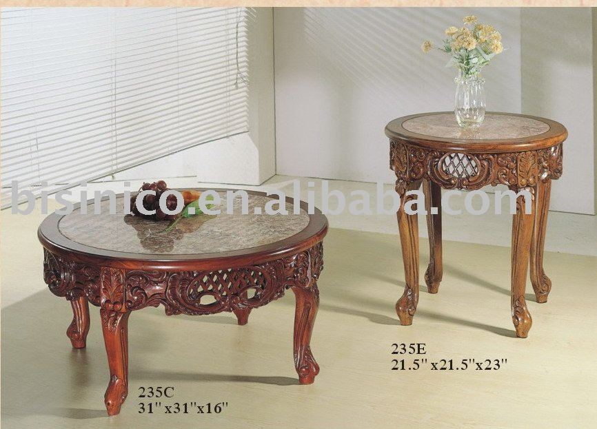 Classical high quality wooden coffee table with marble on for High quality coffee tables