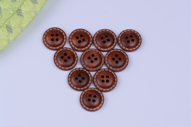 Cheap Wholesale 2015NEW 100PCS Dark brown painted wood buttons 2 holes clothing accessories 15mm Natural Button(China (Mainland))