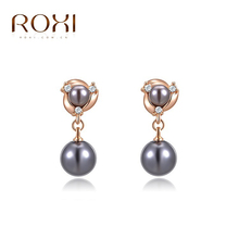ROXI Christmas Gift Fashion Jewelry Rose Gold Plated Statement Elegant Pearl Drop Earrings For Women Party Wedding Free Shipping(China (Mainland))