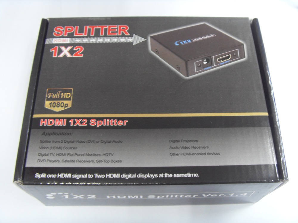 30pcs/lot High quality Full HD 1x2 Port HDMI Splitter Amplifier Repeater 3D 1080p Female For HDTV Free shipping(China (Mainland))