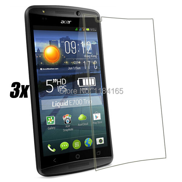 3pcs/Lot Front Transparent LCD Screen Guard Protectors for Acer Liquid E700 Film with Retail Package(China (Mainland))