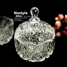 Украшения дома высокого прозрачный стеклянный кристалл, европа стиль резервуар для хранения сахарницы