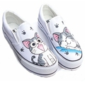 Women Canvas Shoes Slip On Personalized Hand Painted Shoes Couples Graffiti Casual Flats Women Loafers Chaussure
