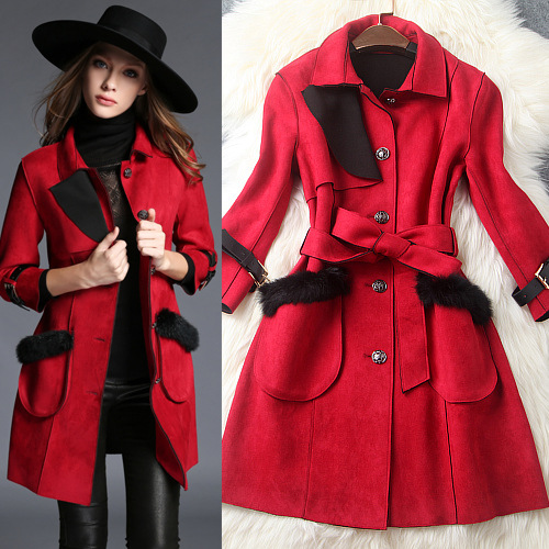 2015 womens fall fashion new runway winter trench british style temperament elegant suede coat lapel long burderry