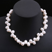 "11mmX15mm 17"" NATURAL WHITE FREE FORM BAROQUE CULTURED FRESHWATER PEARL NECKLACE shipping free(China (Mainland))"