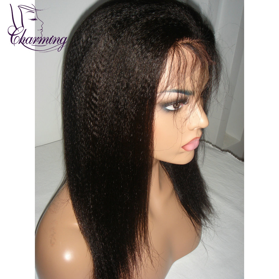 Charming Indian Remy Hair Kinky Straight Full Lace Wig Italian Yaki Full Lace Human Hair Wigs 10-20 Inch In Stock Women's Wigs(China (Mainland))