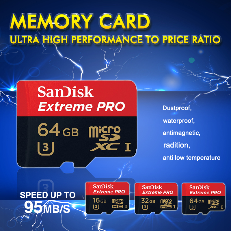 100% Original Genuine Sandisk Extreme Pro 95MB/s Memory card 32GB 16GB 64GB class10 flash tf card micro sd card free card reader(China (Mainland))
