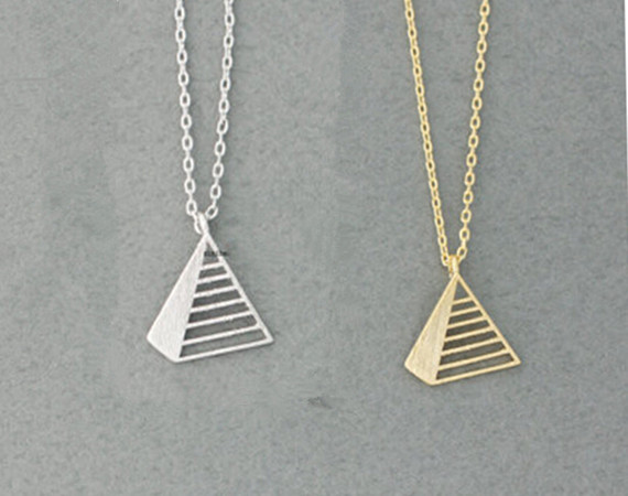 2015 Gold/Silver Fine Jewlery Stainless Steel Triangle Pyramid Charm Necklace for Women(China (Mainland))