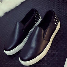 2016 Spring Autumn Women Leather shoes For Woman Black Loafers snakeskin shoes slip on Loafer Casual Shoes zapatos mujer 5687