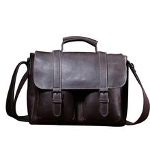 Genuine Leather Mens Business Briefcase Bag Crazy Horse Big Capacity Messenger Bag Men's Single Shoulder Bag Computer Bag CH094(China (Mainland))