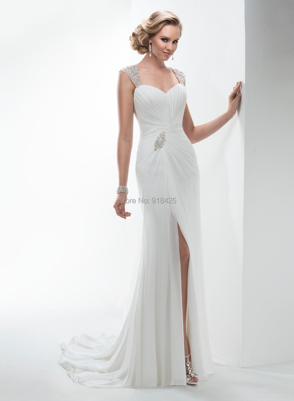 Buy new style beaded chiffon casual beach for Buy back wedding dresses