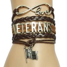 Drop Shipping New Arrival  Infinity Love Veterans Bracelet- Handmade Leather Braided Deparment Friendship Job Career Gift