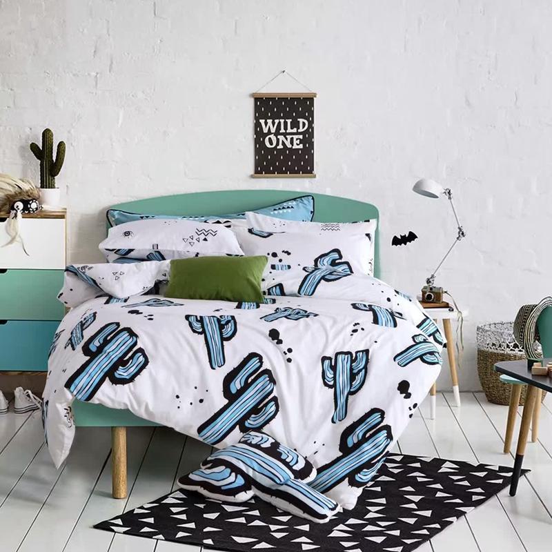 cactus bedding set white&green comforter bedding sets single queen king size 100%cotton satin bed set bedspread kids bedding set(China (Mainland))