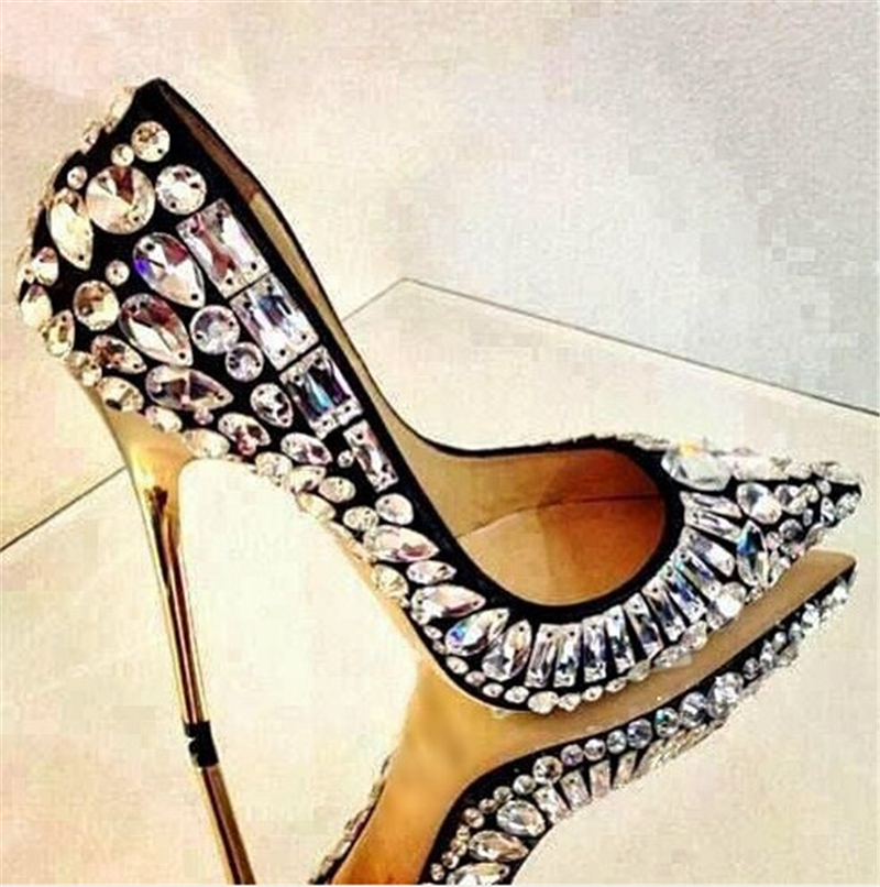 2016 Newest Brand Bling Bling Rhinestone Crystal Studded Women Pumps Metal High Heels Sexy Wedding Party Shoes Woman Whloesales<br><br>Aliexpress