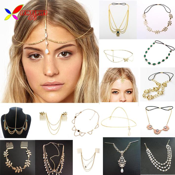 2014 new hot hair jewelry fashion golden metal beaded shell waterdrop charm wedding head bands hair wear accessories for women(China (Mainland))