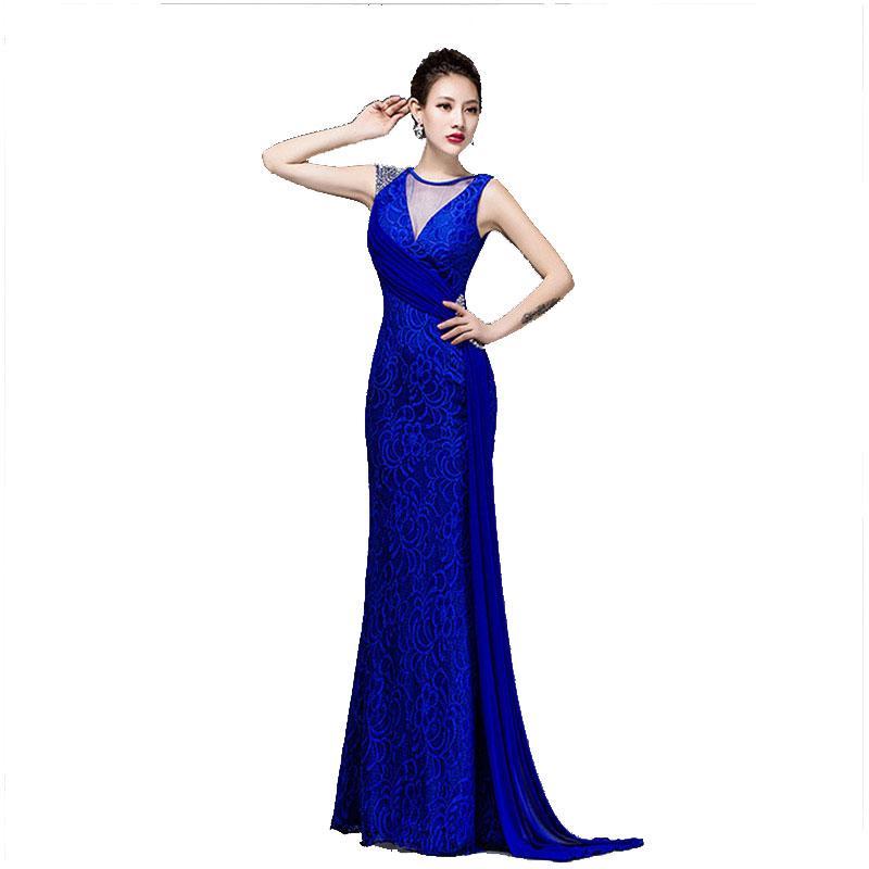 Mujeres vestido azul real vestidos de fiesta sin espalda halter vestido de  encaje formal elegante piso