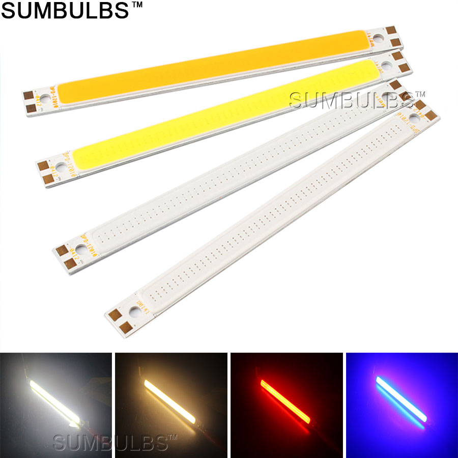 120x10MM 3W 10W COB Light LED Strip Lamp for Work Table Car Lights DIY Blue Red Warm Cold White 12CM LED Bar Bulb(China (Mainland))