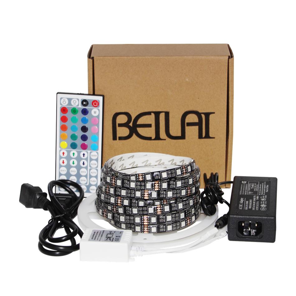 Waterproof RGB LED Strip 5050 5M Flexible Neon Bande LED Light DC 12V Fite LED Tape + 5A EU Power + 44 Key IR Remote Controller(China (Mainland))