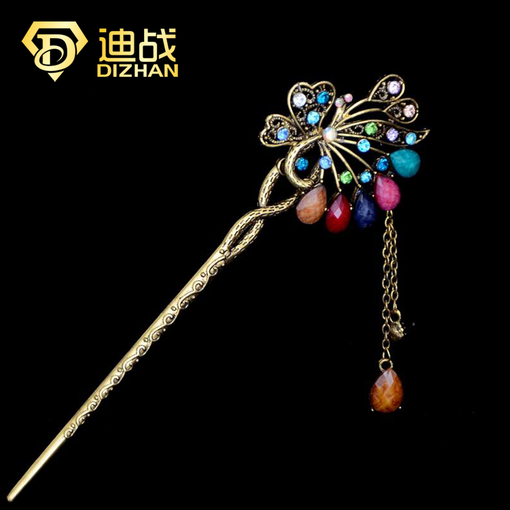 Vintage Rhinestone Butterfly Hairpin Jewelry Vintage Wedding Hair Accessories Fashion Crystal Peacock Hair Stick SF451(China (Mainland))