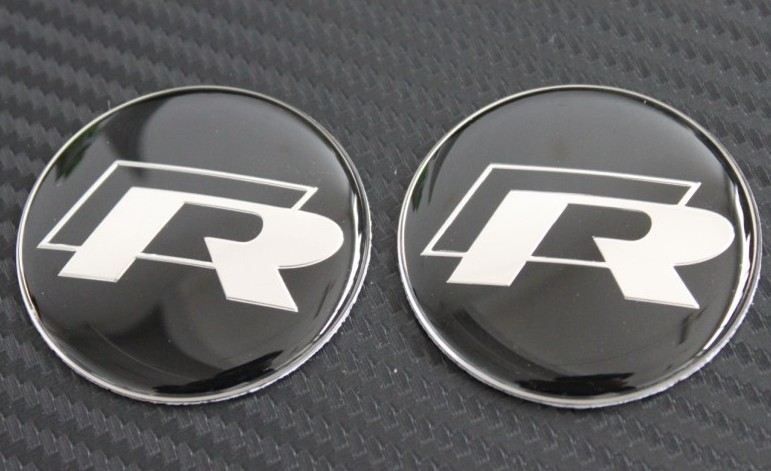 2PCS x Volkswagen VW R Steering Wheel Decals stickers logo emblem Golf Passat(China (Mainland))
