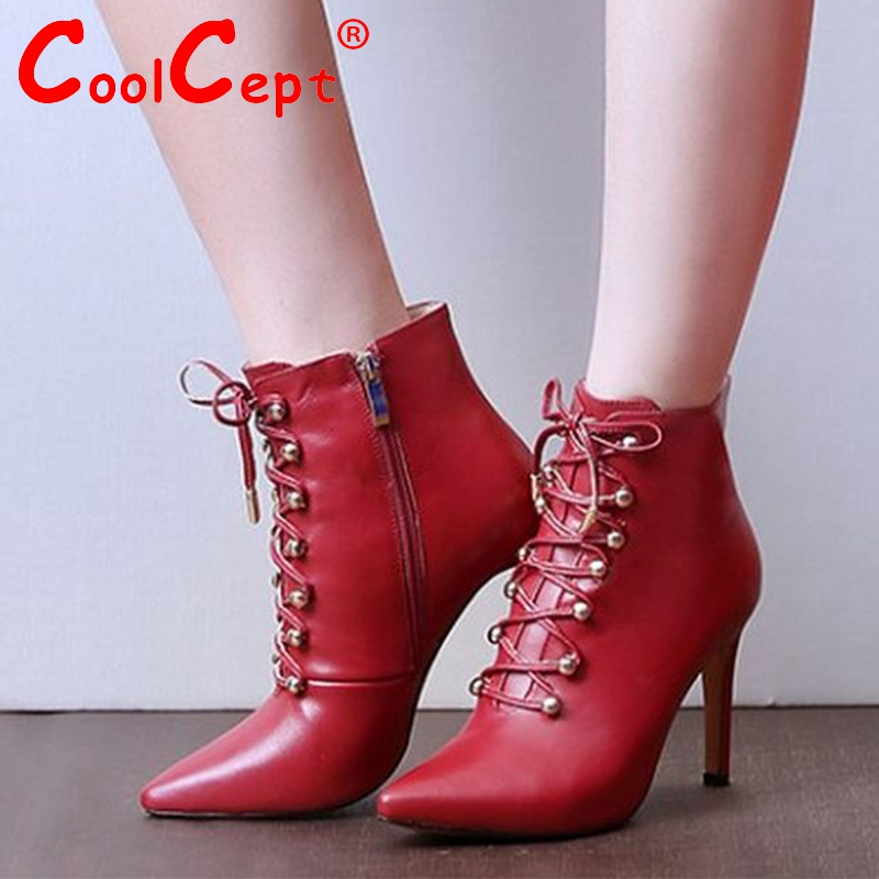 women real genuine leather high heels ankle boots brand cross strap boot warm autumn winter bota footwear shoes R7925 size 34-39<br><br>Aliexpress