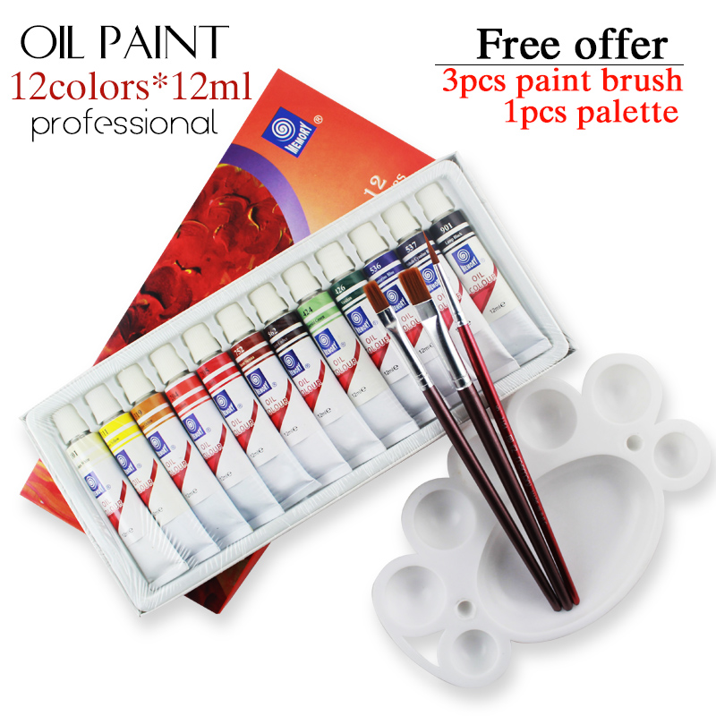 Professional Brand Tube Oil Paints art for artists Canvas Pigment Art Supplies Drawing 12 ML 12 Colors paint tool Set(China (Mainland))