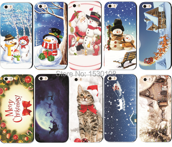 10 Designs For iPhone 5 5S Hard Protective Cases Christmas Gift New Year Painted Snowman Cute Back Cover MCA002(China (Mainland))
