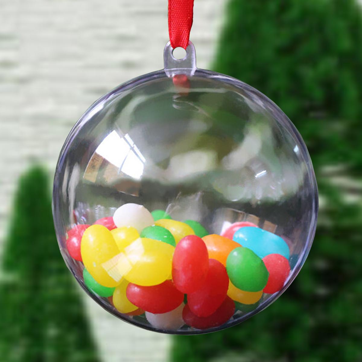 Sports christmas ornaments - 10pcs Romantic Design Christmas Decorations Toy Balls Transparent Can Open Plastic Christmas Clear Bauble Ornament Gift Present