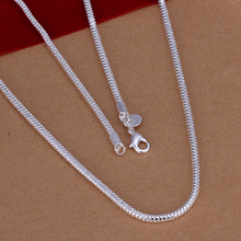 40cm Men's Chokers necklaces jewelry 16'' 3mm 925 sterling silver necklace snake chains n192 gift pouches free(China (Mainland))