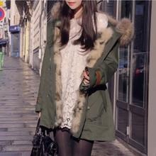 2015 New Winter coat Korean fashion loose Military green jacket women winter fur collar parka hooded