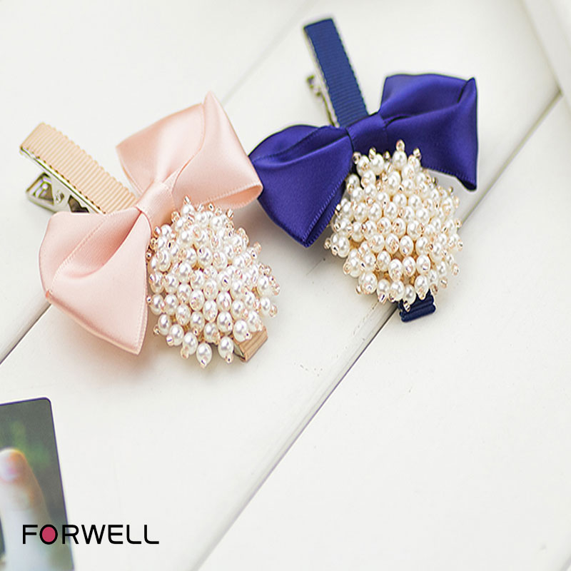 2016 hot sale headdress flower hair accessories for women girls fabric bow knot pearl bow beaded hairpins jewelry(China (Mainland))