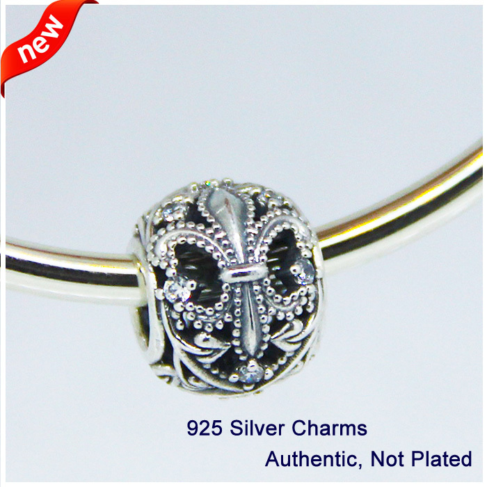 Fits for Pandora Bracelets Openwork Fleur de Lis silver charm with cubic zirconia Original Authentic 925 Sterling Silver Beads(China (Mainland))