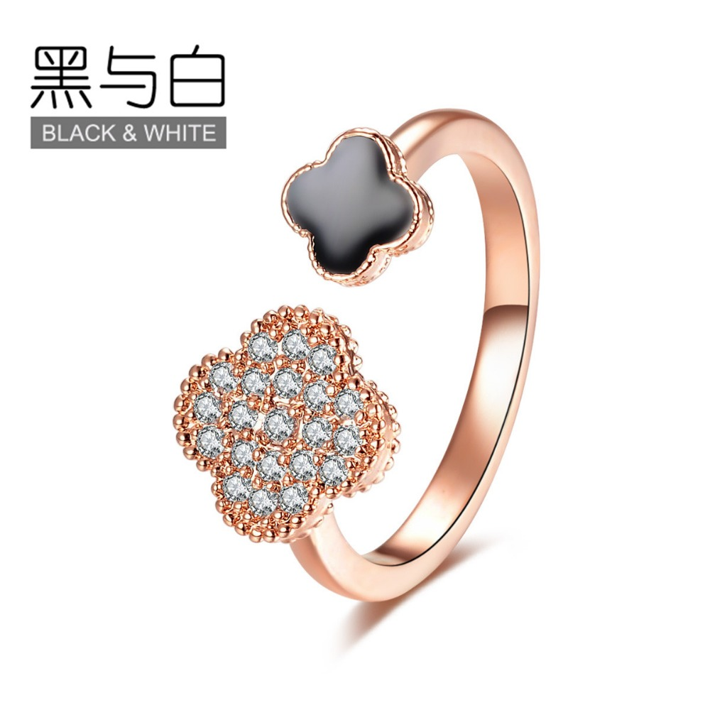Crystal Clover Flower Rings Rose Gold Enamel Adjustable Ring For font b Women b font Fashion