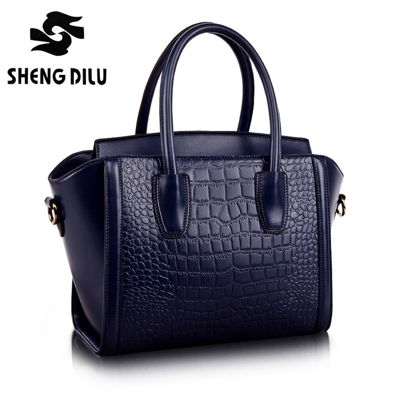 RECOMMEND! New 2016 High Quality Embossed Crocodile Pattern Bag Women Genuine Leather Handbag winter bags woman 6 colors #1166(China (Mainland))