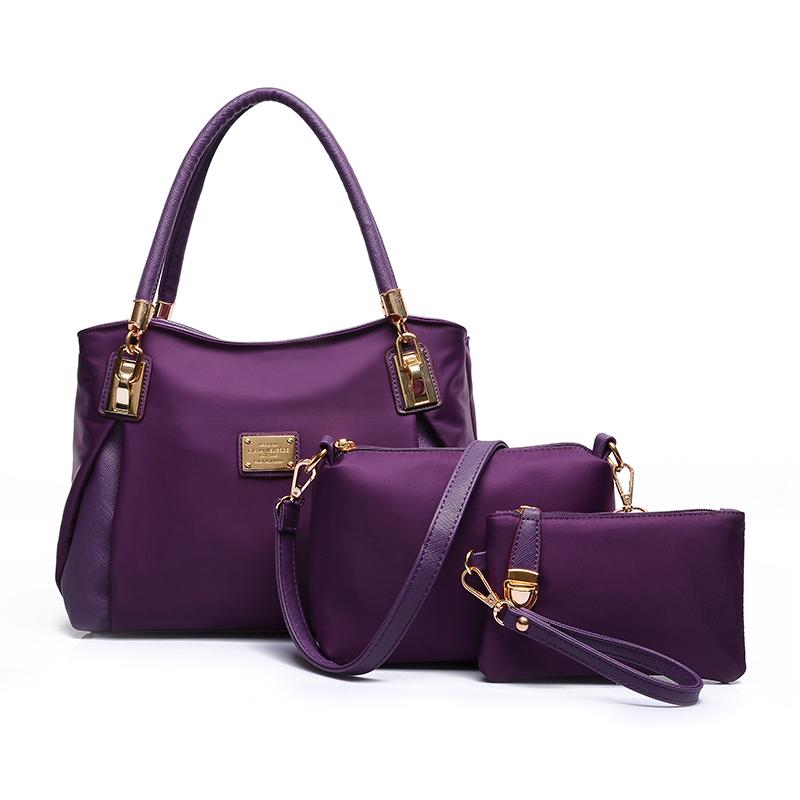 Фотография New 2016 3Pcs/Set Fashion Trendy Nylon Waterproof Spring Women Handbag Set Tote Shoulder Bags Crossbody Messenger Bags Bolsas
