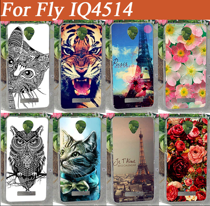 For Fly IQ4514 case Cover high quality 14 patterns painting colored owl tiger rose eiffel towers Soft TPU case for fly iq4514(China (Mainland))