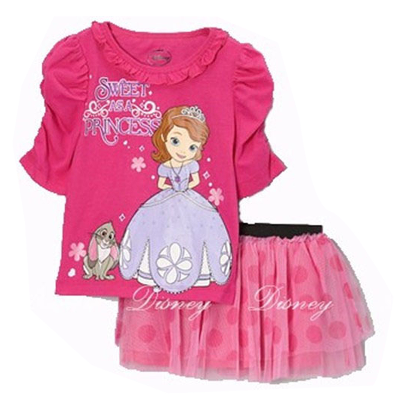 [LOONGBOB]2015 NEW children set TEE Shirt+skirt baby girl's summer 2 pcs set Cartoon suit bebe clothing hello kitty Minnie 716A(China (Mainland))