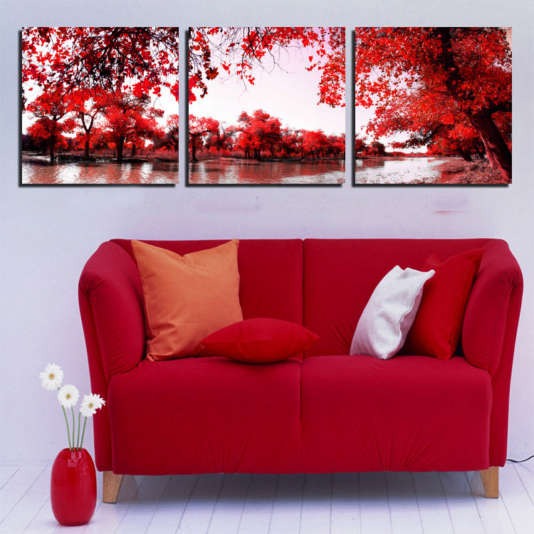 3 Panel Modern Landscape Oil Paintings River Red Tree Painting Print On Canvas For Your House Wall Decoration Unframed 2015 New(China (Mainland))