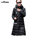 MOGE black women long coat fashion womens coats winter 2016 abrigos mujer abrigos mujer invierno long