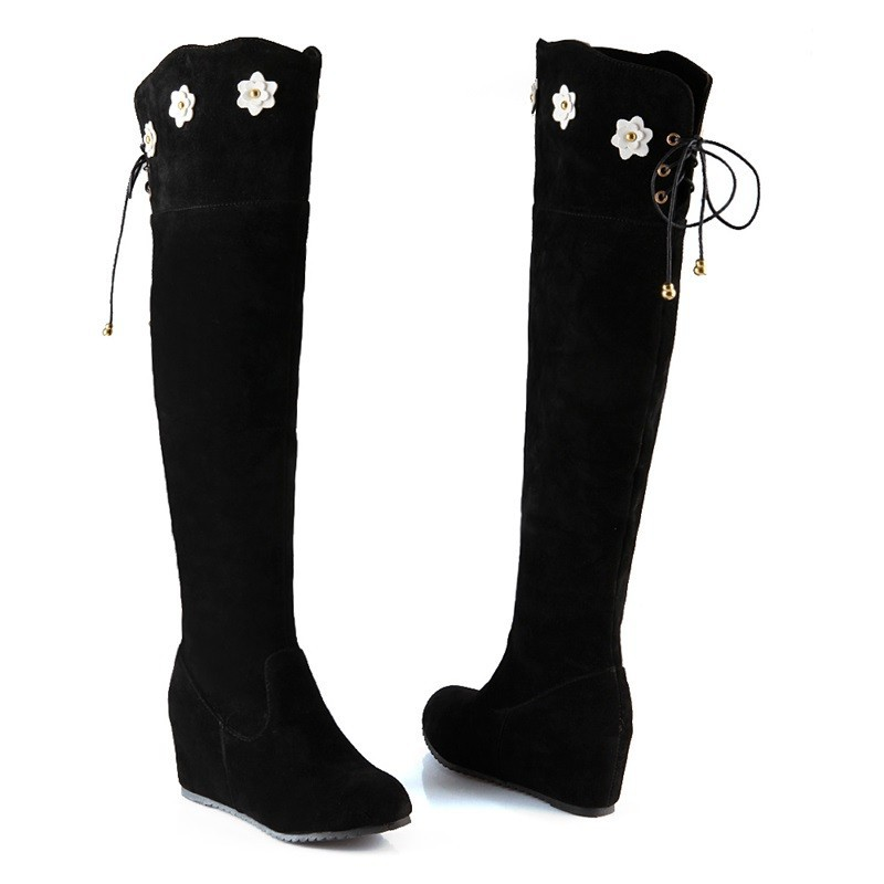Flowers Boots Fashion over the knee boots 2015 Tall side zipper lace up thigh high boots Sweet Casual comfortable chelsea boots
