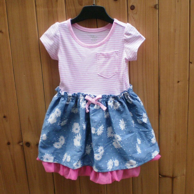 2016 Place Princess Style Summer Striped Cotton Girl's Children's Dresses (5Pcs/lot) Baby /Kid's Clothing {iso-16-2-17-AA2}(China (Mainland))