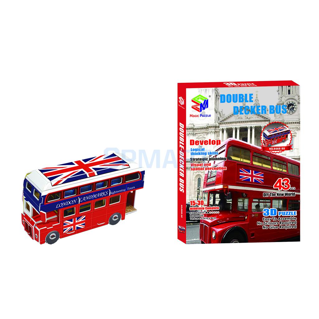 3D Puzzle Jigsaw Double Decker Bus Model DIY Educational Toy Paper Miniature Bus Vintage British Style(China (Mainland))