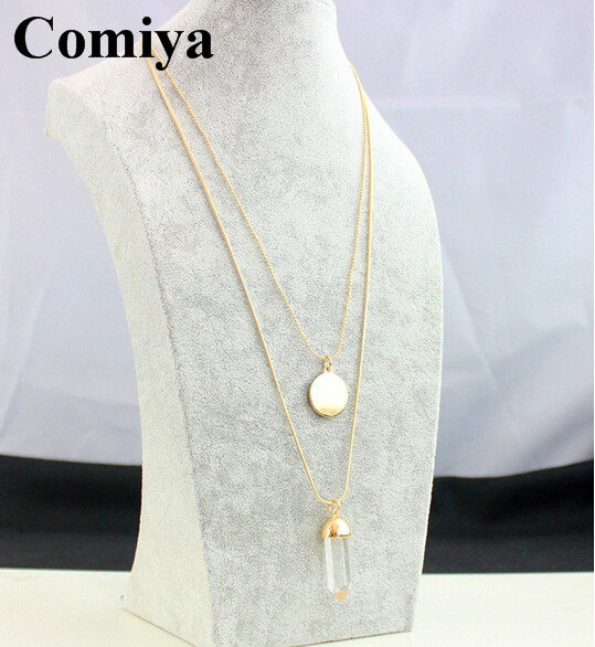 2015 fashion romantic style bijoux jewelry two layers long thin chain necklace metal plate transparent crystal pendant necklaces(China (Mainland))