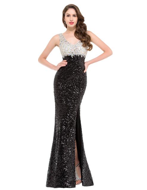 Роскошные блесток длинные русалка вечернее платье грейс карин платья side-щелевая ...